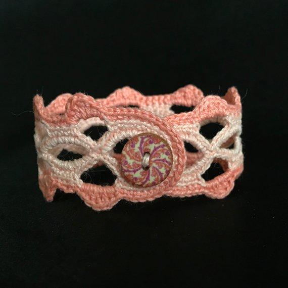 2 Tone Crochet Boho Hippie Victorian Style Bracelet
