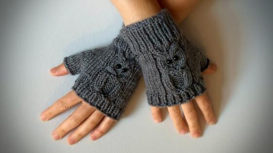 grey owl knitted fingerless gloves