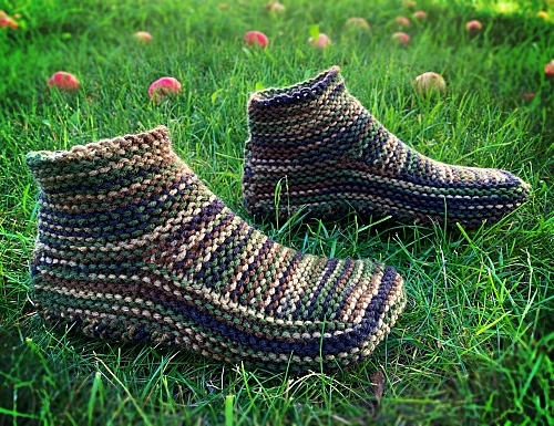 Hand Knit Camo Slippers