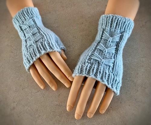 Blue bow fingerless mitts