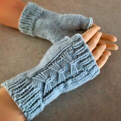 Blue bow fingerless mitts