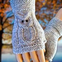 2 needle owl gloves
