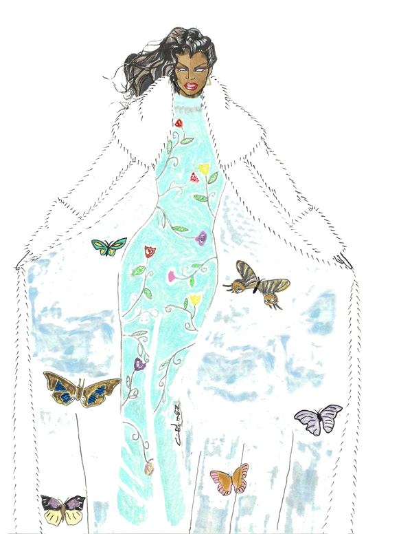 Mother Nature Butterfly Dress Illustration