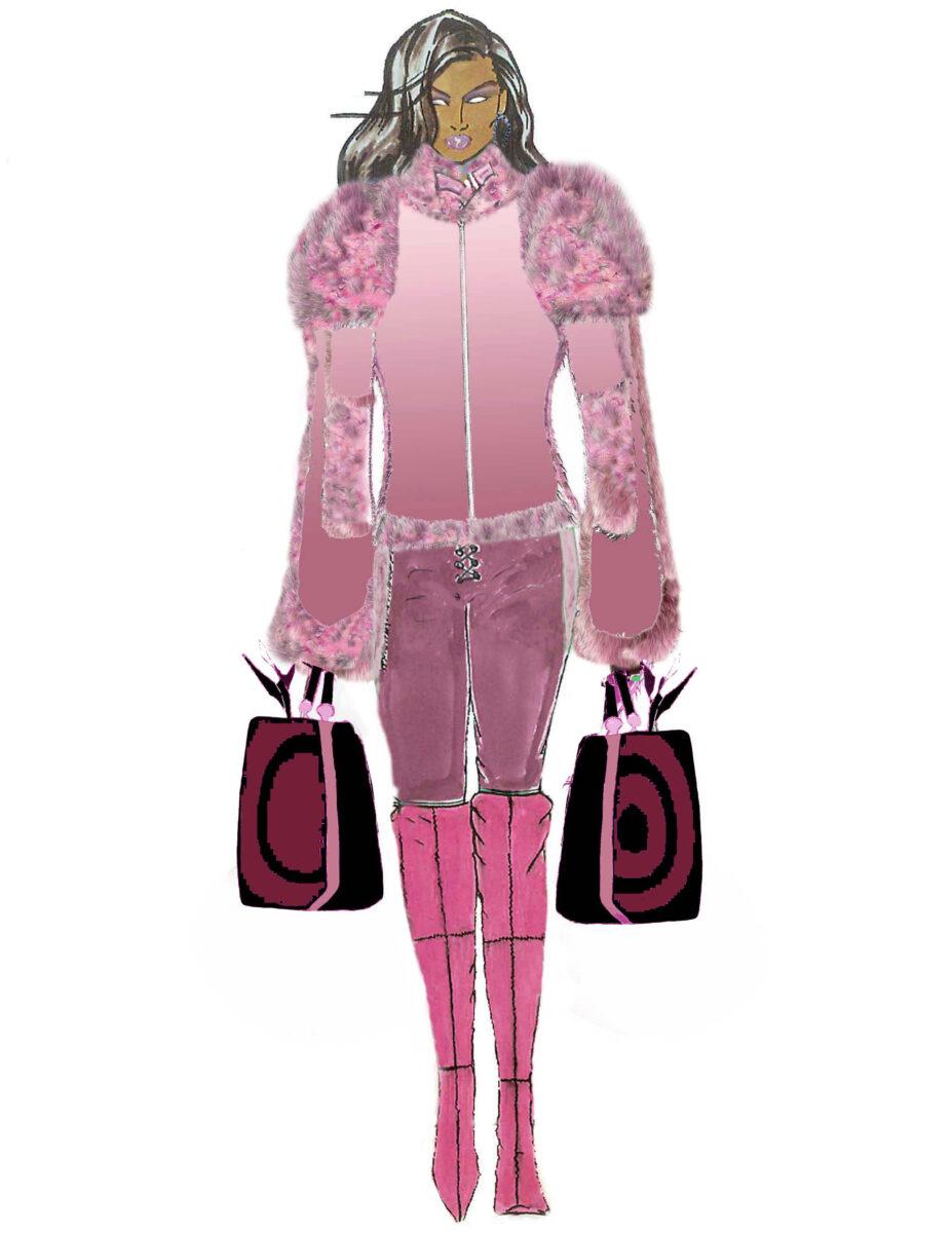 Rosa Ombre Sheared Mink w/ Fox Accents CGB Illustration