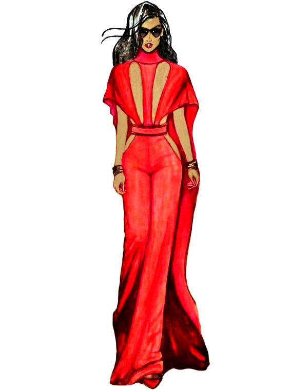 Red Silk Amber Dress CGB Illustration