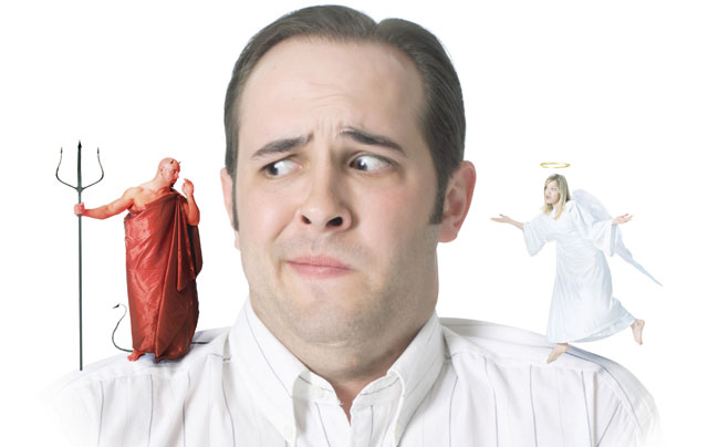 angel and devil both standing on a man's shoulders telling him what to do