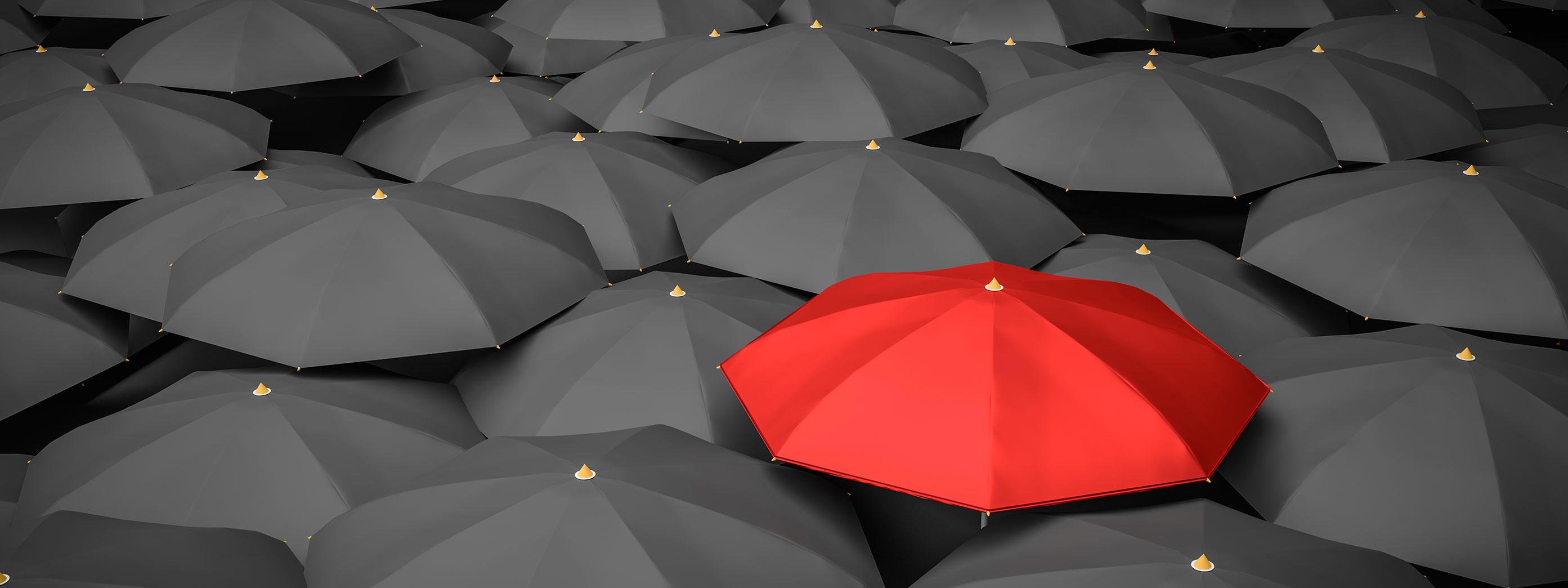 one red umbrella in a sea of black umbrellas