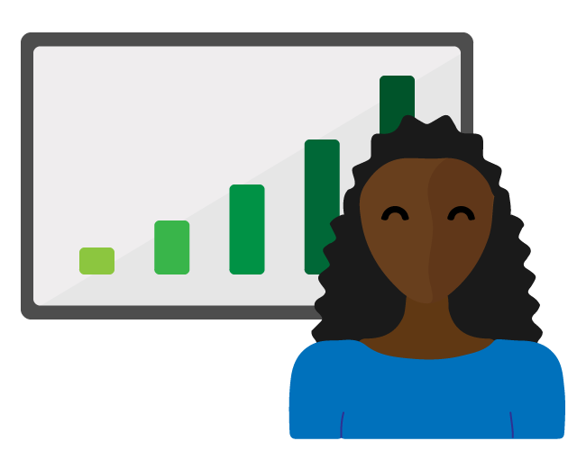 woman standing in front of a graph showing improved progress