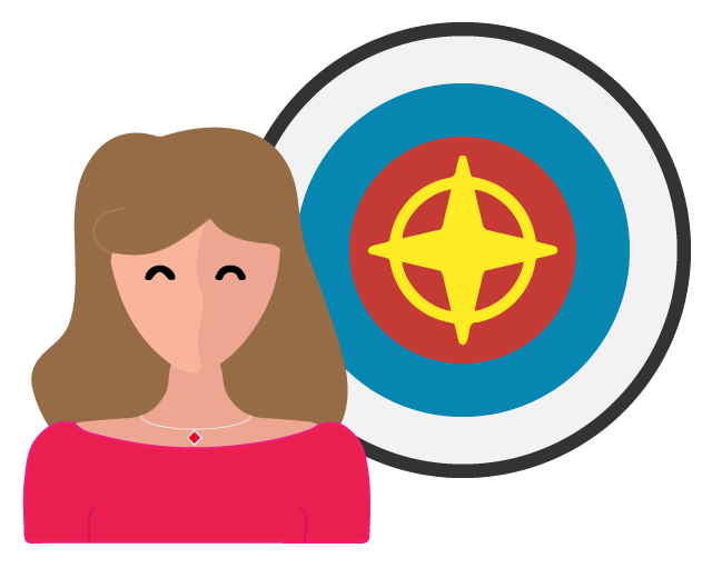 image of woman standing beside a target to symbolize purpose