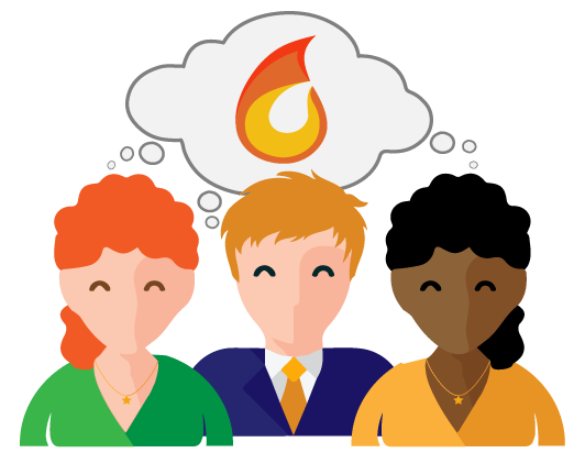 Three people imagining a flame symbolizing a united passion