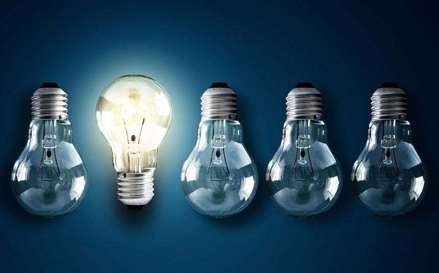 five lightbulbs with one lite bulb and four dark bulbs