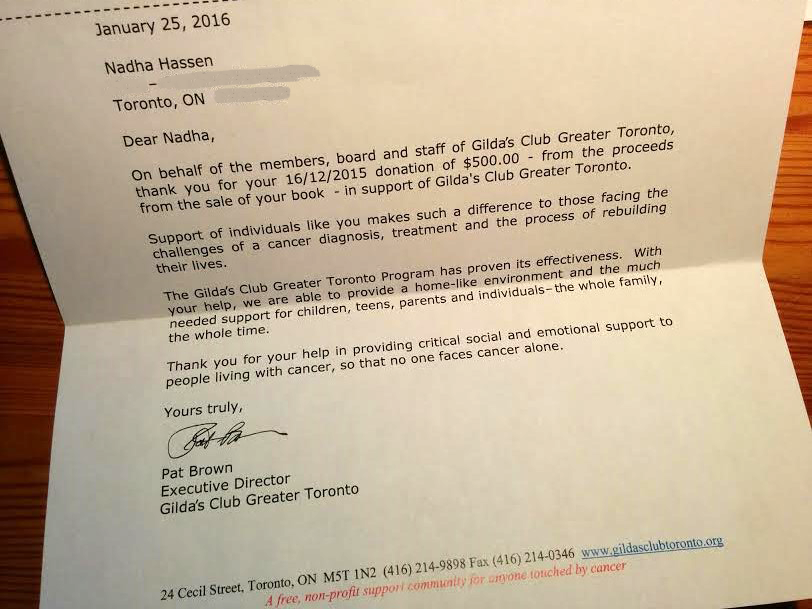 Donation to Gildas Club Greater Toronto