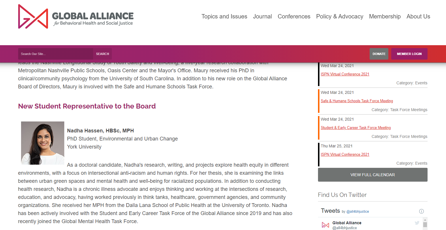 A screenshot from the Global Alliance website with Nadha's name, photo, and short bio.