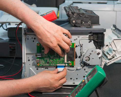 Request Service Meter Reading Repair of laser printer disconnection of wiring ribbon cable