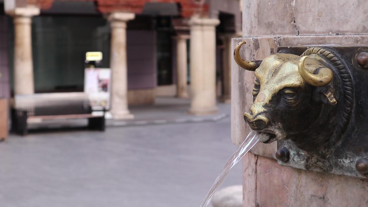 Bull fountain in Plaza del Turico Teruel, Spain.