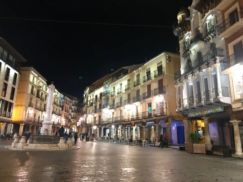 Night picture of Plaza del Turico in Teruel, Spain.
