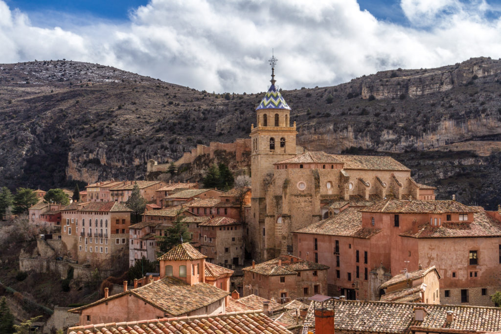 City of Albarracin, Spain with the cities cathedral in the background.