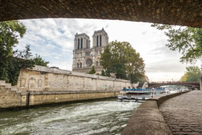 River Seine in Paris, France with boat.