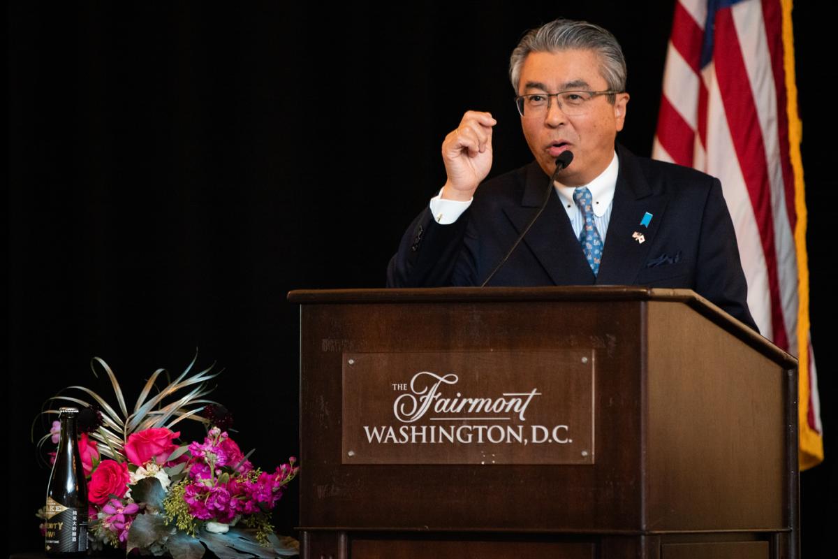His Excellency Shinsuke J. Sugiyama gives the opening kampai (toast)