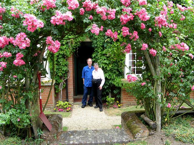 Linda and husband at CS Lewis home