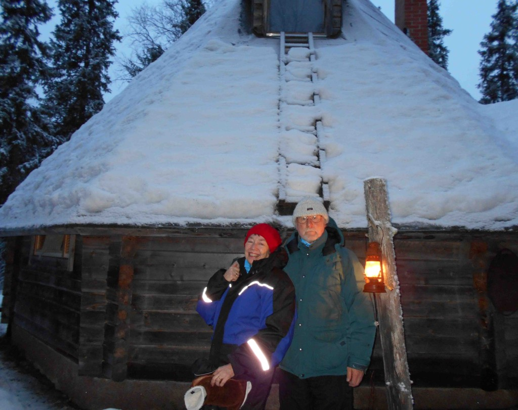 Linda Seger and Peter outside hut