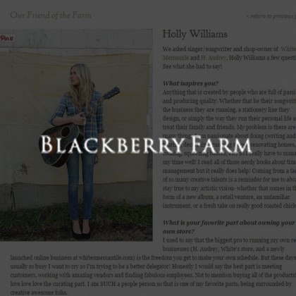White's Mercantile is mentioned in Blackberry Farm