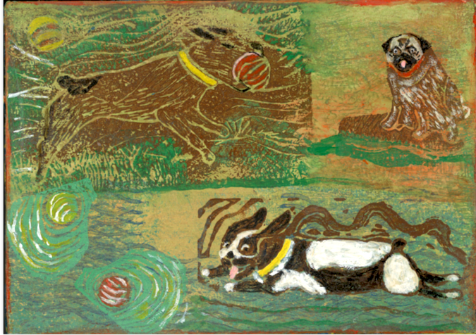 """""""Dogs at Play"""" 5 x 6 Matted Print $10"""