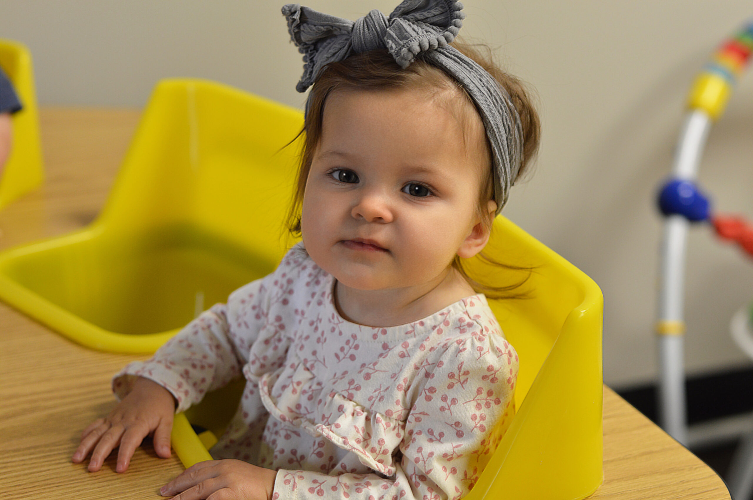 In our Nursery class, our goal is to create a peaceful atmosphere and care for your child's physical needs to give them a great first impression of their Heavenly Father.