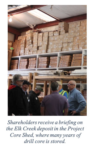 Shareholders receive a briefing on the Elk Creek deposit in the Project Core Shed, where many years of drill core is stored.