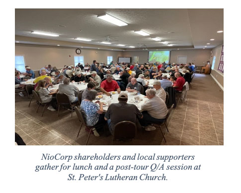 NioCorp shareholders and local supporters gather for lunch and a post-tour Q/A session at St. Peter's Lutheran Church.