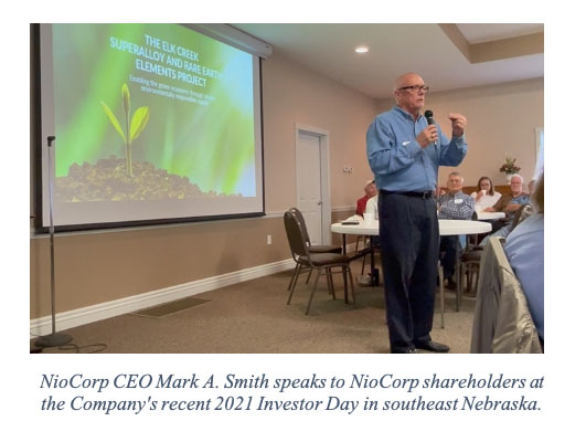 NioCorp CEO Mark A. Smith speaks to NioCorp shareholders at the Company's recent 2021 Investor Day in southeast Nebraska.