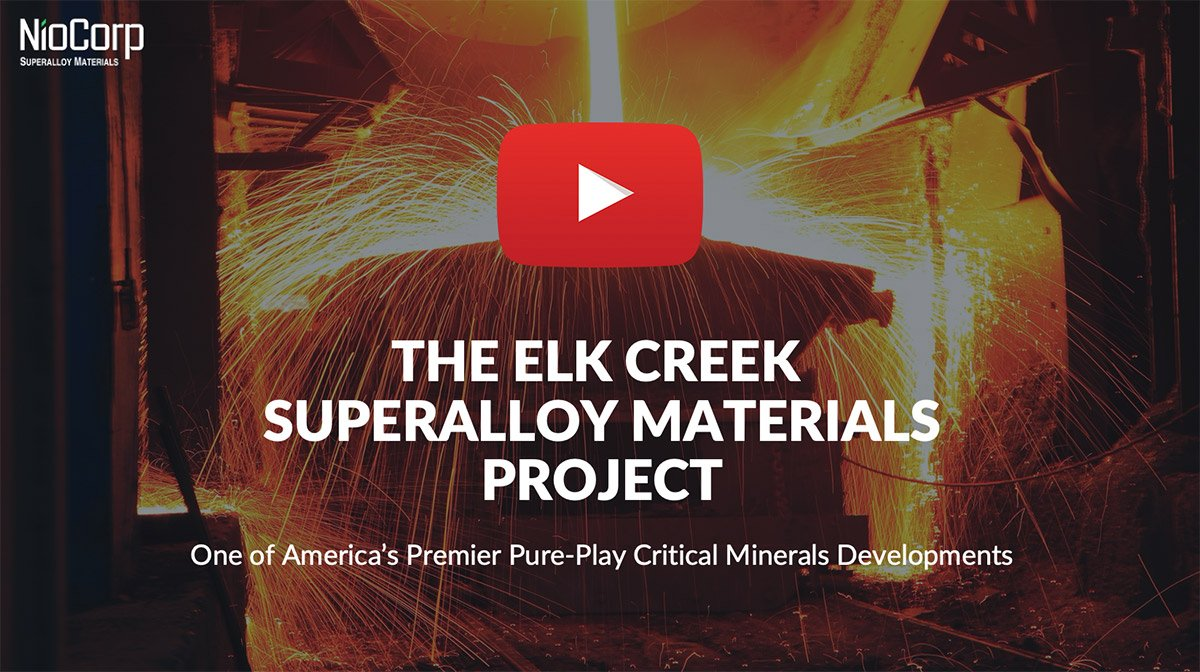 NioCorp's Mark Smith and Scott Honan provide an update to investors on the Elk Creek Superalloy Materials Project.