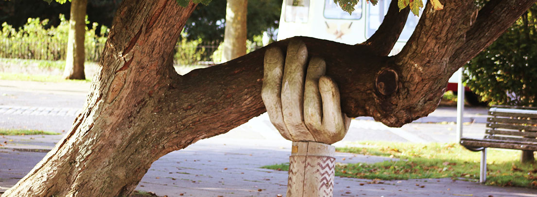 hand supporting tree