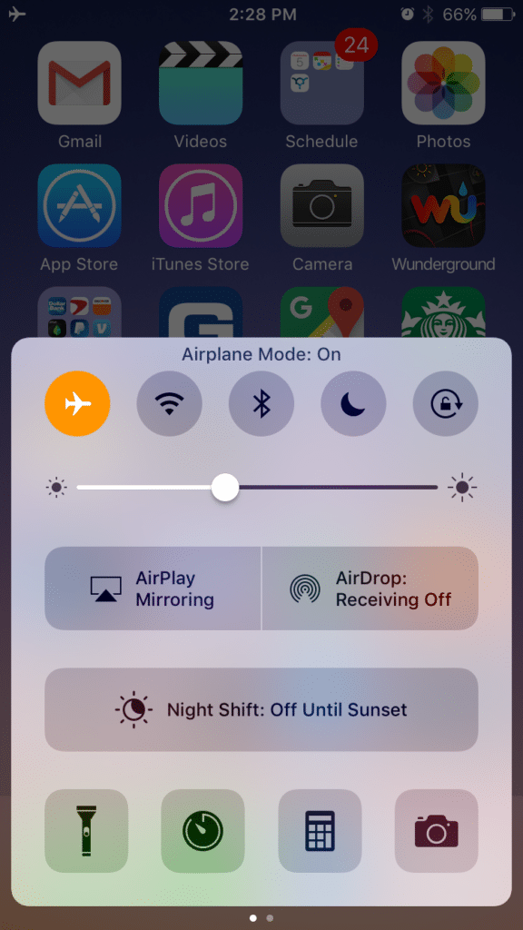 Turn on Airplane Mode on your iPhone by swiping up and touching the airplane icon