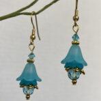 Aqua Lucite Flower Earrings