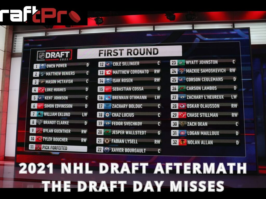 DRAFTPRO – 2021 NHL DRAFT AFTERMATH – THE DRAFT DAY MISSES