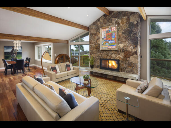 Living room with faulted ceilings