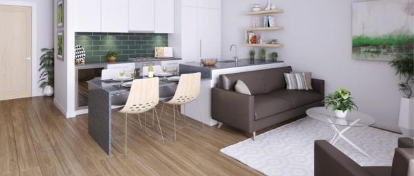 Livingroom rendering at The Wade