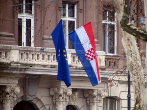 Croatian flag at the Ministry of Foreign Affairs in Zagreb