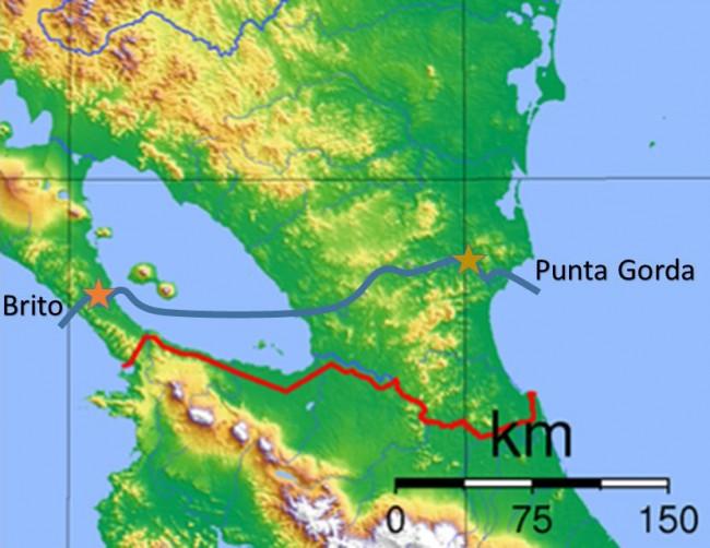 Nicaragua Canal project (January 2015) (blue line). Stars indicate Brito and Camilo locks (Photo: Courtesy of WikiCommons)