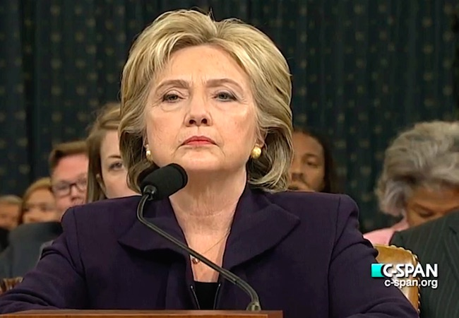 Former Secretary of State Hillary Clinton testified before the House Select Committee on Benghazi, which was investigating the events surrounding the September 11, 2012, terrorist attack on the U.S. consulate in Benghazi, Libya, in which Ambassador Christopher Stevens and three others died.. (Image by C-SPAN: Courtesy of WikiCommons)