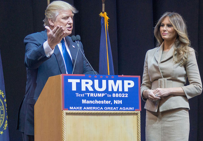 Donald Trump with his wife Melanie Trump on a campaign trail in 2016. (Photo by Marc Nozell: Courtesy of WikiCommons)