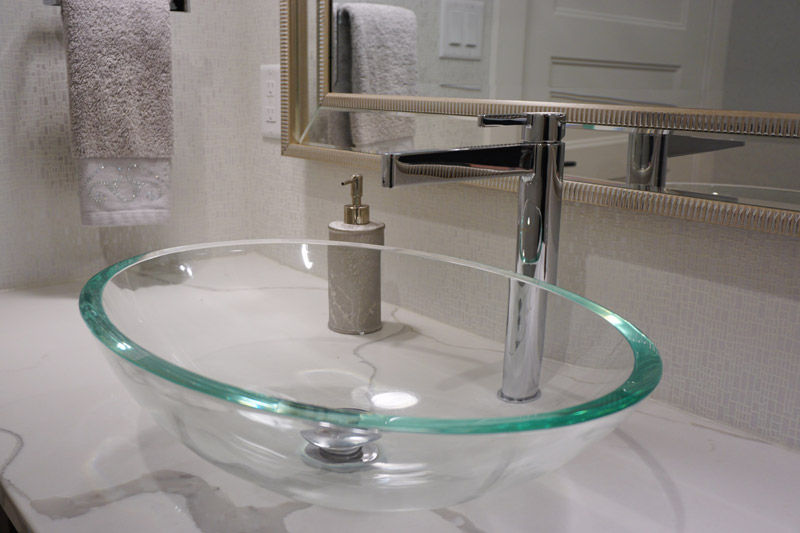 A classic bowl-shaped vessel made with clear glass.