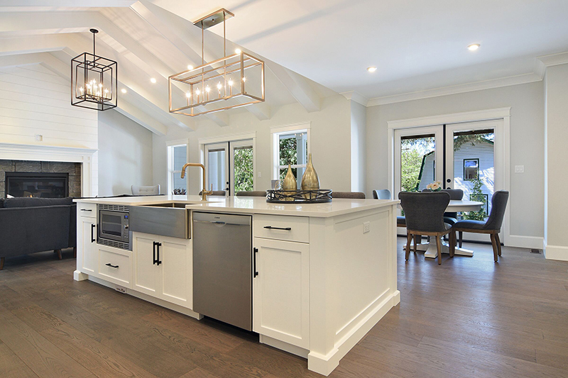 This Galley Island with seating creates flow and visibility for family and friends.
