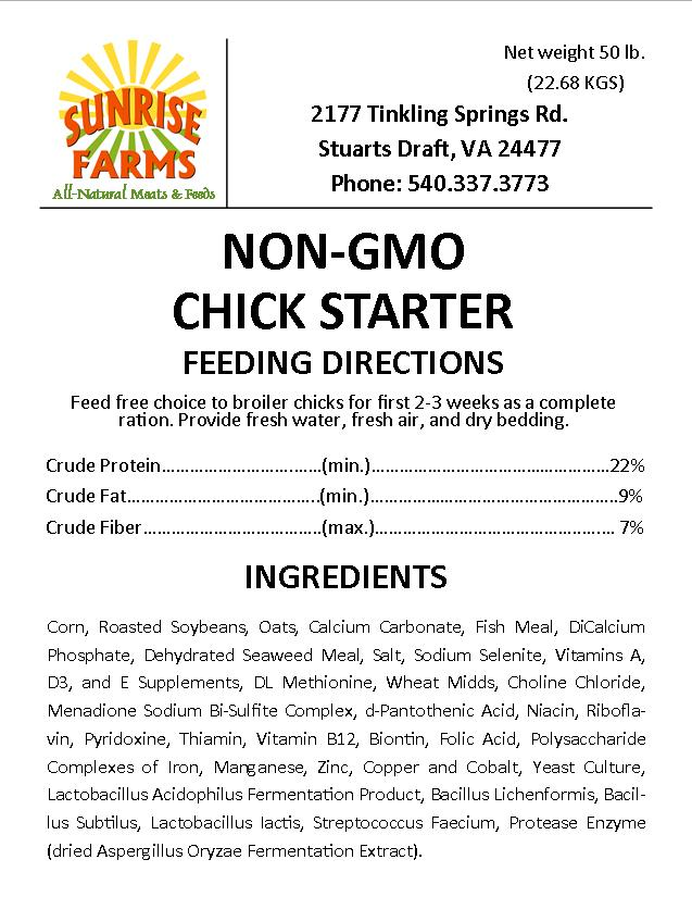 NON GMO CHICK STARTER