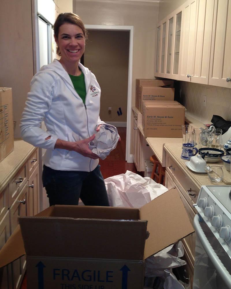 Liz helping resettle a home