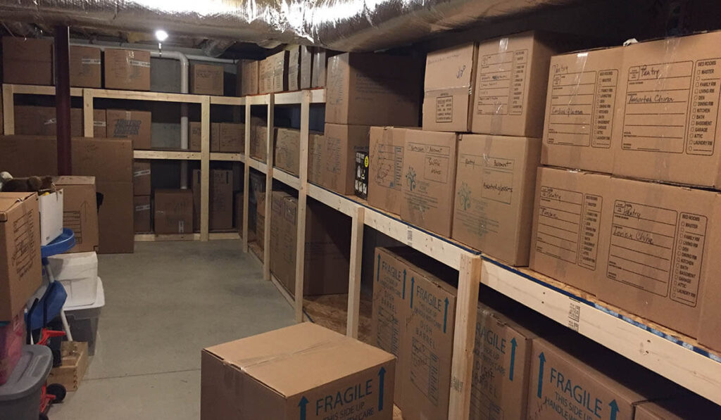Boxes in storage with proper labeling