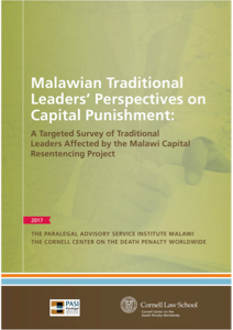 Front cover of Malawian Traditional Leaders' Perceptives on Capital Punishment.