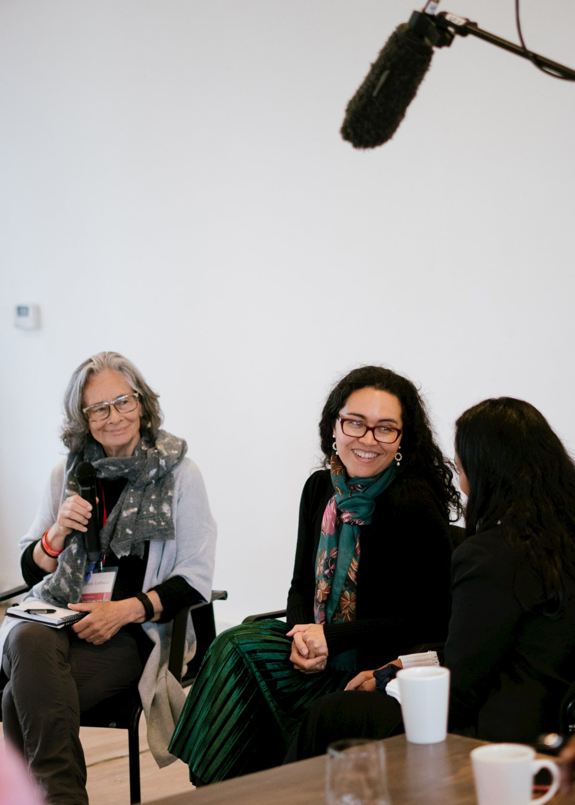 A woman in a light-colored cardigan and a woman in a black sweater and a green skirt are sitting in chairs and smiling. A third woman in a black clothing is sitting with her back turned to the camera.