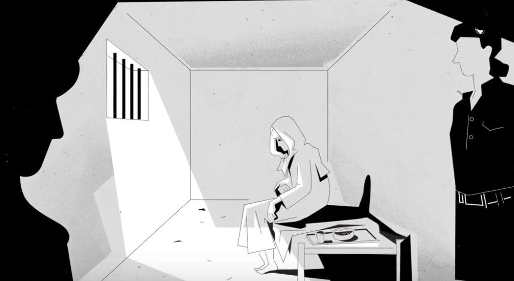 Drawing of a woman in a prison cell